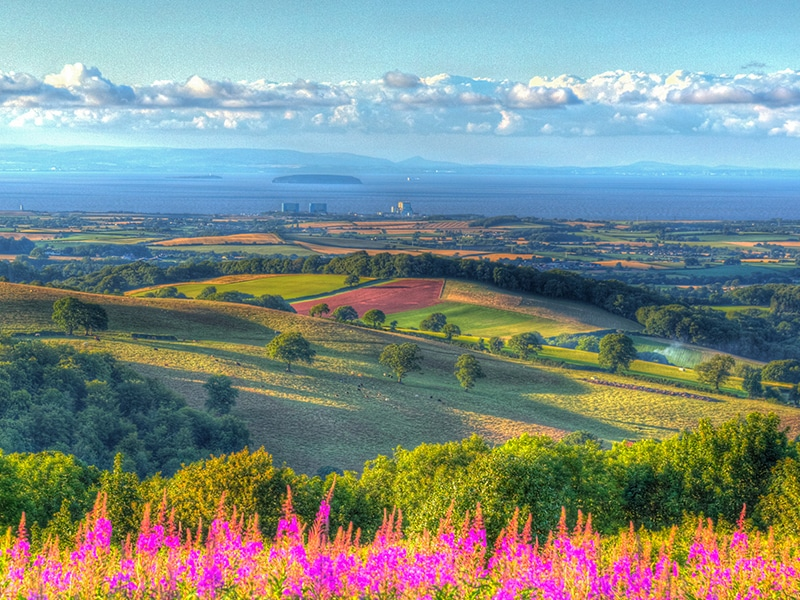 Quantock Hills Somerset countryside to Hinkley Point and Bristol Channel