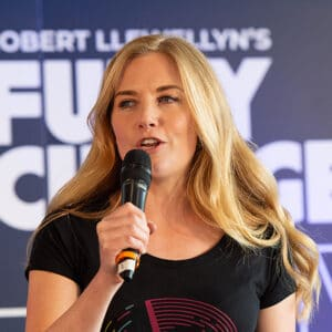 Maddie Moate on stage at Fully Charged LIVE 2019