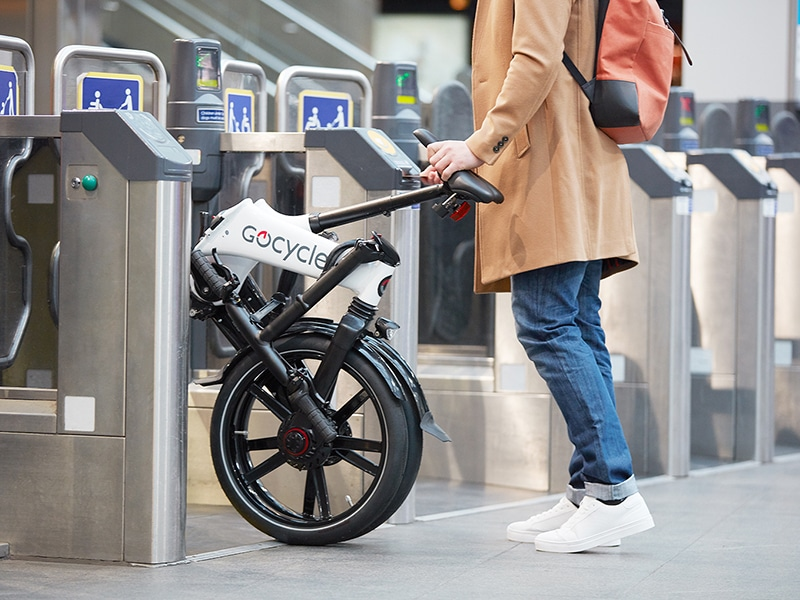 The Gocycle GX can be wheeled along once folded