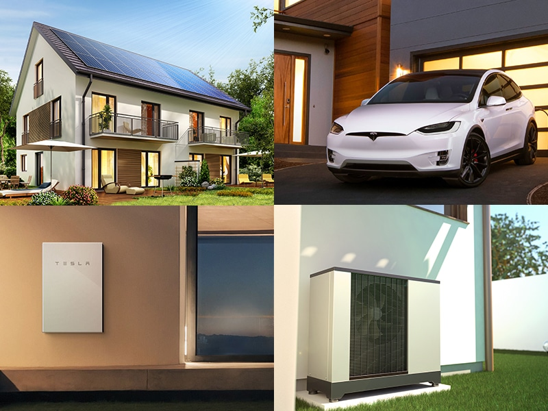 House with Solar, Electric Car, Power Storage and Heat Pump