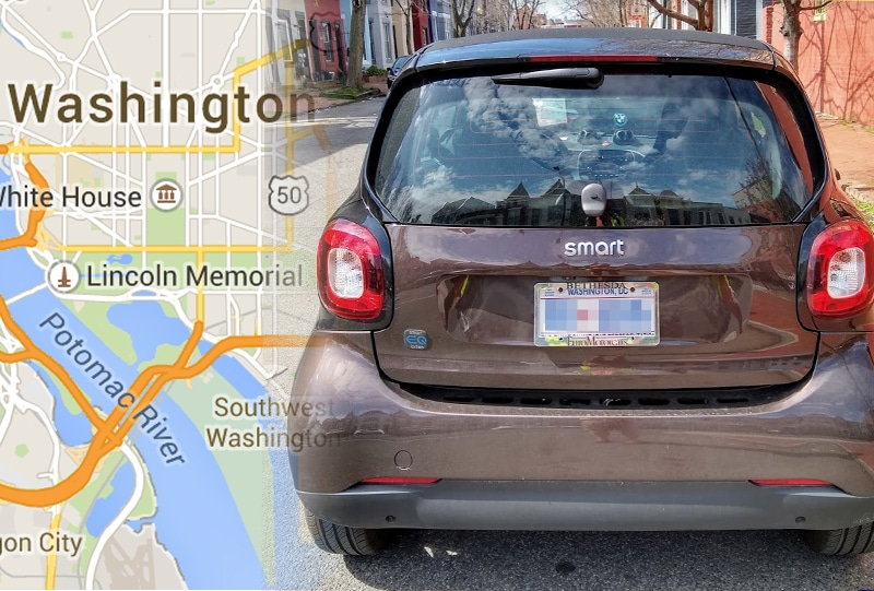 Second-generation BEV Smart Fortwo, parked on a street in Washington, DC