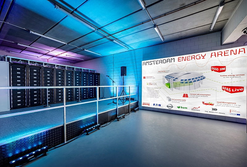 The Amsterdam Arena uses recycled EV battery packs to store renewable energy for events