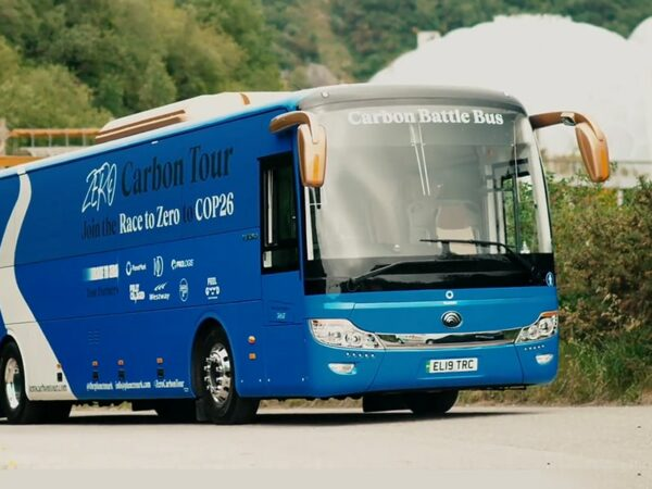 ZERO CARBON Battle Bus – follow PLANETMARK from Cornwall to COP26 – Fully Charged Plus